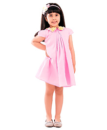 Kidology Potted Flower Collar Dress - Light Pink