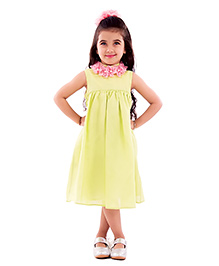 Kidology Potted Flower Garland Dress - Lime Green