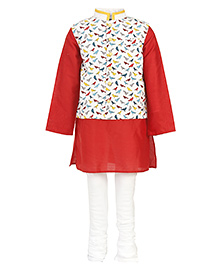 Kidology Parrot Print Kurta Pajama  With Vest  - Red