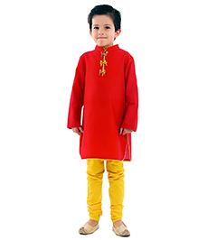 Kidology 3D Parrot Kurta & Pajama Set - Red & Yellow