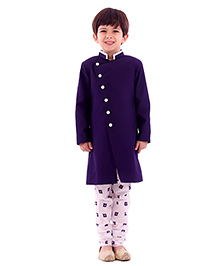 Kidology Ikkat Print Sherwani & Churidar Set - Navy & White