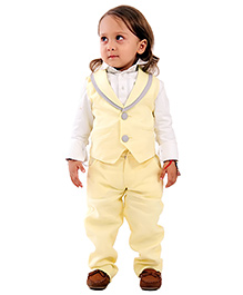 Kidology Shawl Collar Vest & Pant Set - Yellow & Grey