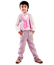 Kidology Colour Block Vest With Pant - Grey & Pink