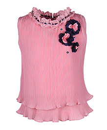 Cutecumber Sleeveless Partywear Top With Floral Appliques - Pink