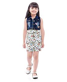 Tiny Baby Party Dress Witth Jacket & Belt - Denim Blue