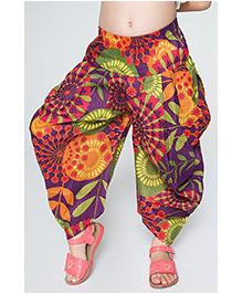 Yo Baby Floral Harem Pants - Purple & Orange