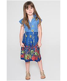 Yo Baby Floral Tie Back Buttonup Dress - Blue