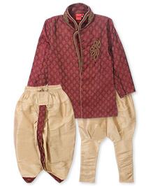 Ethnik's Neu Ron Dhoti Suit - Gold Maroon
