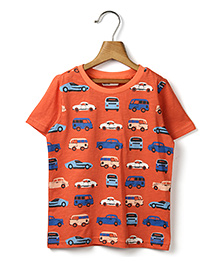 Beebay Half Sleeves T-Shirt Vehicle Print - Orange