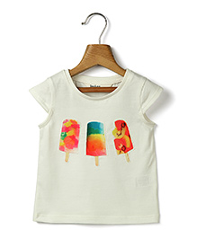 Beebay Short Sleeves Top Ice Cream Patch - White