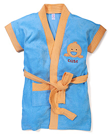 Pink Rabbit Bath Robe With Cute Patch - Blue & Orange