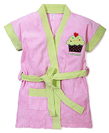 Pink Rabbit Bath Robe With Cupcake Patch - Pink & Green