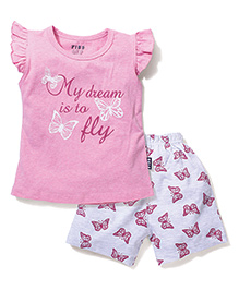 Fido Flutter Cap Sleeves Top With Butterfly Printed Shorts Set - Pink & Grey