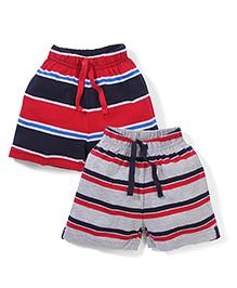 Doreme Stripe Shorts With Drawstring - Red Grey Navy