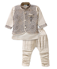 Babyhug Kurta Jacket And Jodhpuri Breeches - Cream