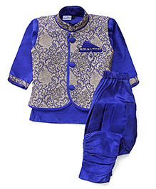 Babyhug Kurta Jacket And Jodhpuri Breeches - Royal Blue