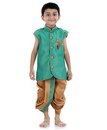 Babyhug Ethnic Jacket And Dhoti Set - Sea Green And Golden
