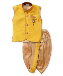 Babyhug Ethnic Jacket And Dhoti Set - Yellow And Golden