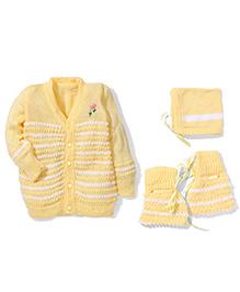 Babyhug Full Sleeves Stripes Sweater Cap And Socks Set - Yellow & White
