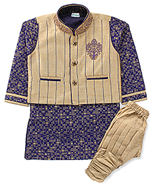 Babyhug Kurta Breeches And Jacket - Blue & Golden