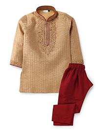 Babyhug Embroidered Kurta Pyjama Set - Beige And Maroon