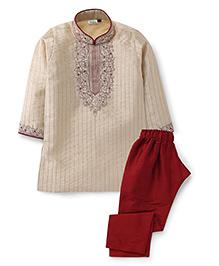 Babyhug Embroidered Kurta Pyjama Set - Cream And Maroon