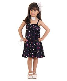 Kids On Board Heart Print Dress - Navy Blue