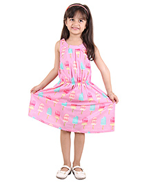 Kids On Board Sleeveless Ice-Cream Print Dress - Pink