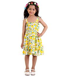Kids On Board Lemon Print Dress - Yellow