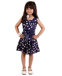 Kids On Board Polka Dot Dress - Navy Blue