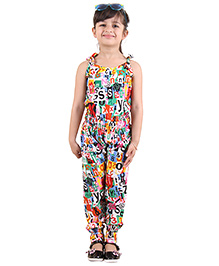 Kids On Board ABC Print Jumpsuit - Multicolor
