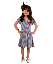 Kids On Board Stripe Dress With Heart Patch - Navy Blue