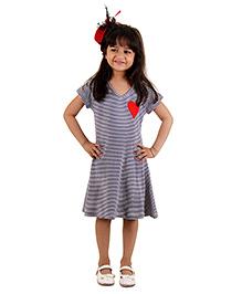 Kids On Board Stripe Dress With Heart Patch - Navy Blue