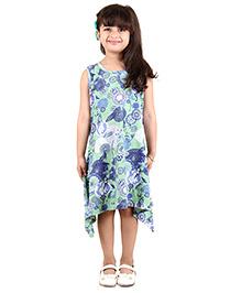 Kids On Board Assymetrical Dress - Green & Blue