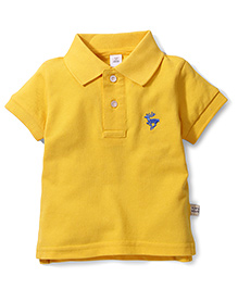 ToffyHouse Polo T-Shirt Embroidered Deer - Yellow