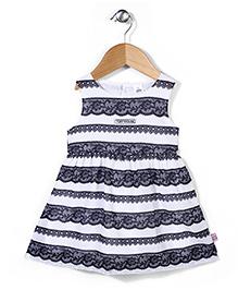 ToffyHouse Sleeveless Embroidery Design Frock - Black White