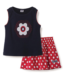 ToffyHouse Skirt And Top Set Floral Print - Navy And Red