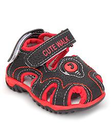 Cute Walk by Babyhug Sandals - Black & Red