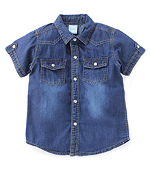 Babyhug Half Sleeves Denim Shirt With Pockets - Blue