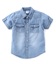 Babyhug Half Sleeves Denim Shirt With Pockets - Light Blue