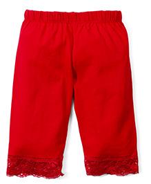 Babyhug Three Fourth Leggings - Red