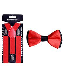 Tiekart Devil Bow Tie & Suspender Combo - Red