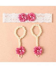 Funkrafts Flower Barefoot Sandals & Headband - Pink