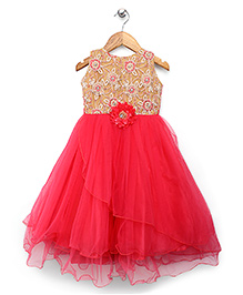 Bluebell Party Wear Gown Floral Embellishment - Coral Red