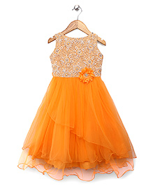 Bluebell Party Wear Gown Floral Embellishment - Yellowish Orange