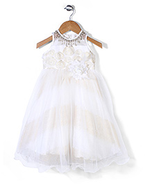 Bluebell Floral Applique Party Frock With Attached Necklace - Off White