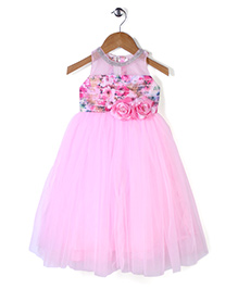 Bluebell Sleeveless Floral Appliqued Party Frock - Pink