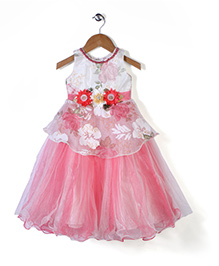 Bluebell Sleeveless Party Frock With Attached Necklace - White & Pink