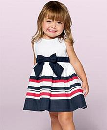 Teddy Guppies Sleeveless Pretty Bow Striped Evening Dress - Blue