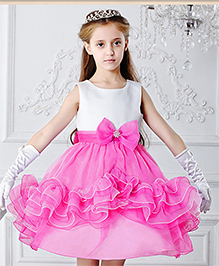 Teddy Guppies Party Wear Frill Dress - Pink